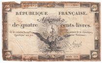 France 400 Livres 21-11-1792 - Sign. Fleuriel Série 572 - TB+