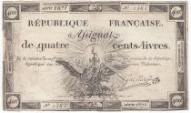 France 400 Livres 21-11-1792 - Sign. Gaillard Serial 1871 - VG to F