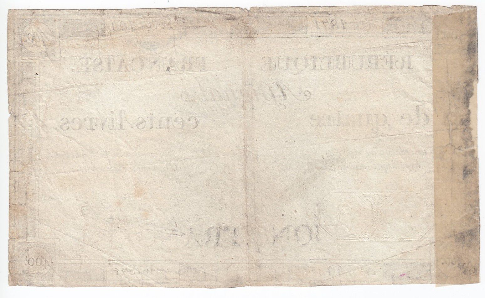 France 400 Livres 21-11-1792 - Sign. Gaillard Serial 1871 - VG to F