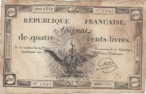 France 400 Livres 21-11-1792 - Sign. Griois - Serial 859 - F - P. A.73