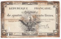 France 400 Livres 21-11-1792 - Sign. Henry Serial 1134 - VG to F