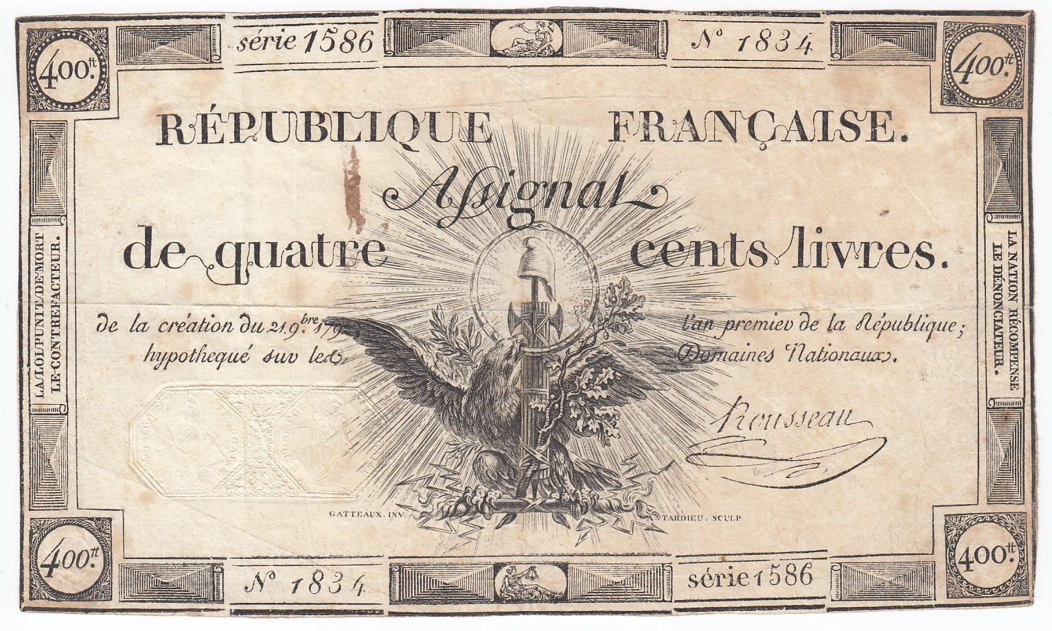 France 400 Livres 21-11-1792 - Sign. Rousseau Serial 1586 - VF