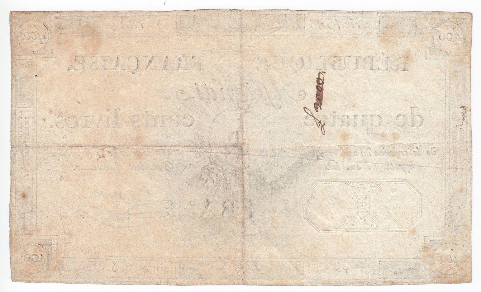 France 400 Livres 21-11-1792 - Sign. Rousseau Série 1586 - TTB