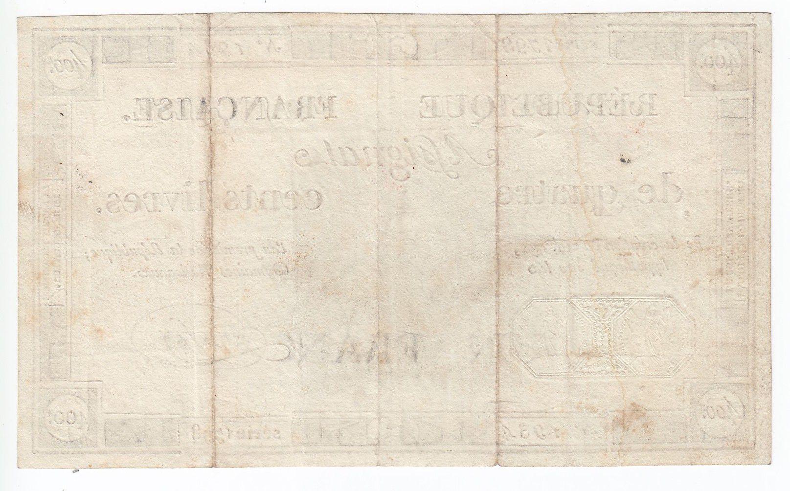 France 400 Livres 21-11-1792 - Sign. Say - Serial 1798 - VF