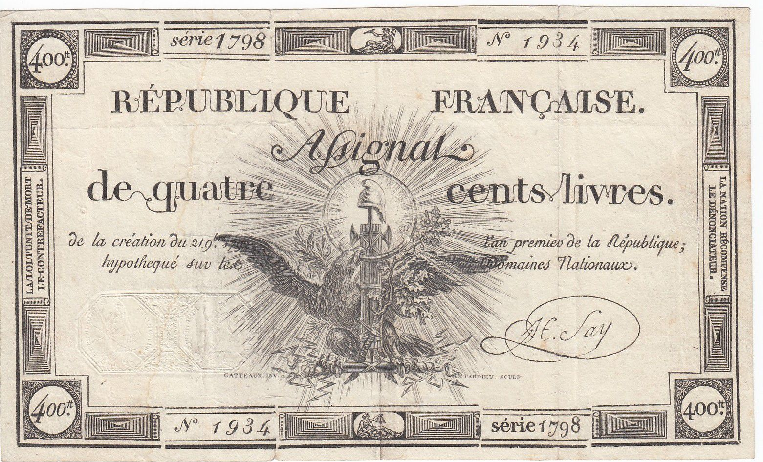 France 400 Livres 21-11-1792 - Sign. Say Série 1798 - TTB