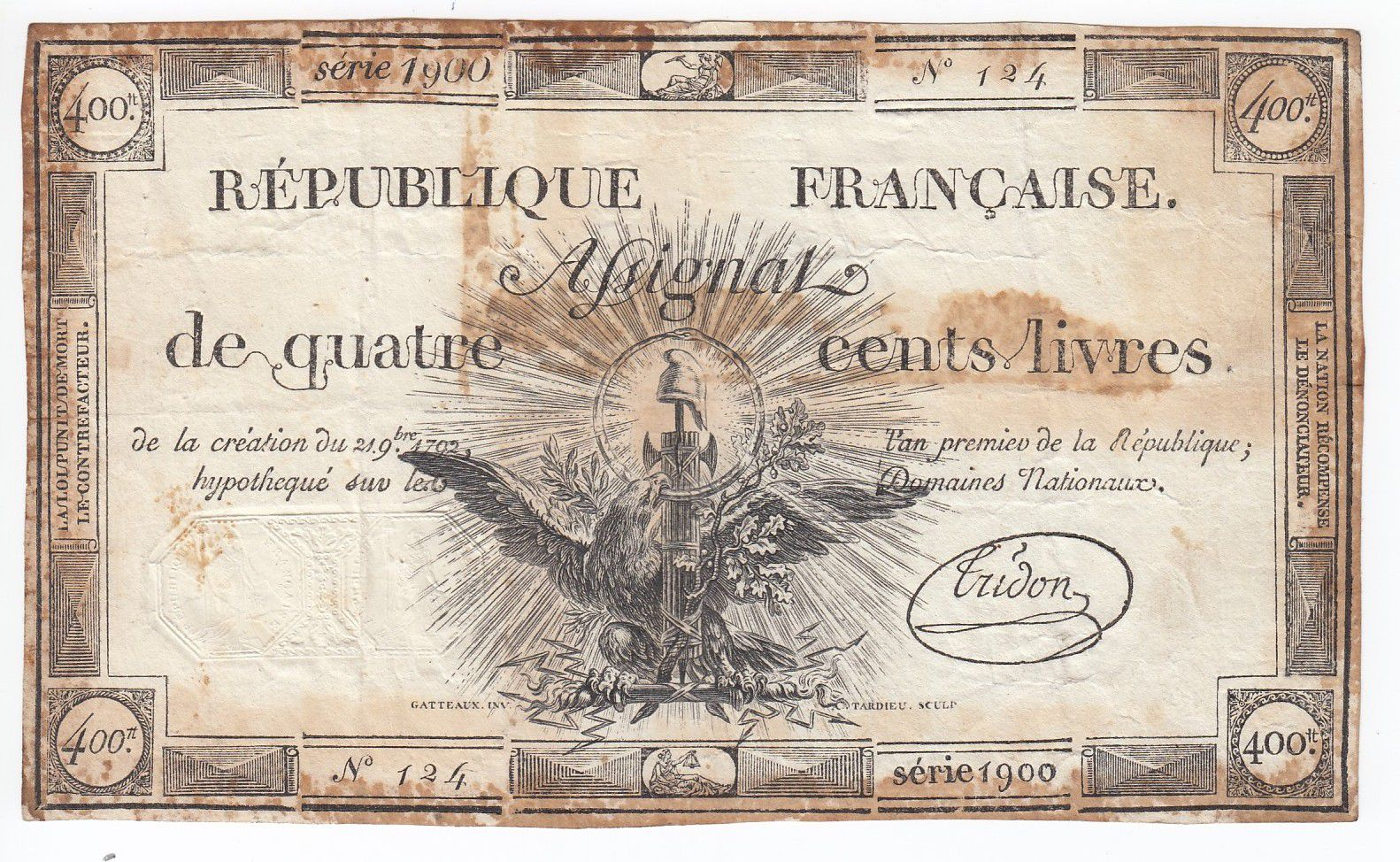 France 400 Livres 21-11-1792 - Sign. Tridon Serial 1900 - VF