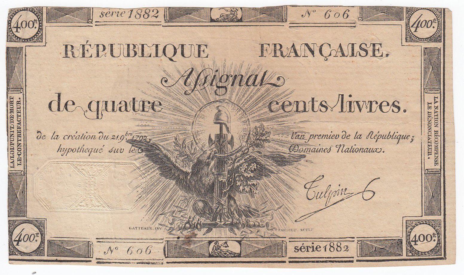 France 400 Livres 21-11-1792 - Sign. Tulpin - Serial 1882 - VF