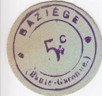 France 5 cent. Baziège Bon de mairie