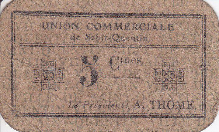 France 5 cent. Saint-Quentin Union commerciale