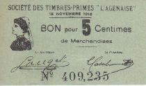 France 5 Centimes Agen Sté Timbres Primes L´Agenaise