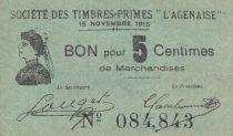 France 5 Centimes Agen Sté Timbres-Primes L´Agennaise