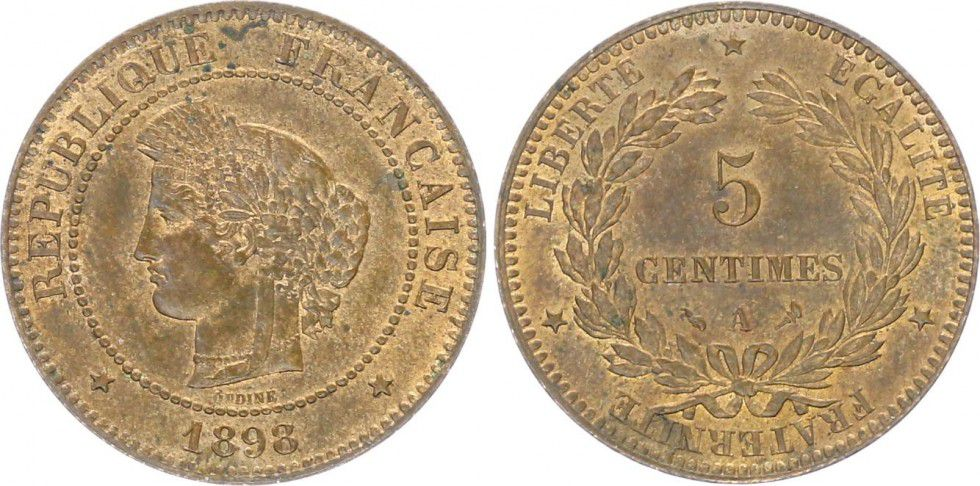 France 5 Centimes Cérès - Third Républic - 1898 A