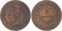 France 5 Centimes Cérès - Troisième République - 1891 A paris