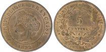 France 5 Centimes Cérès - Troisième République - 1892 A