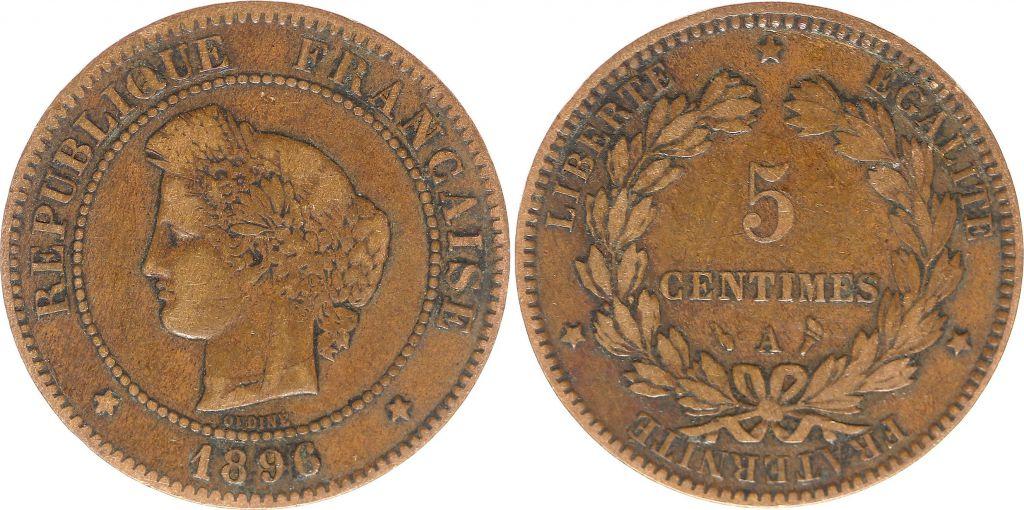 France 5 Centimes Cérès - Troisième République - 1896 A paris