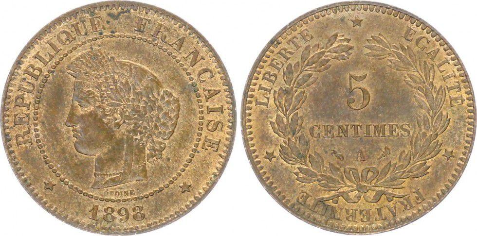 France 5 Centimes Cérès - Troisième République - 1898 A