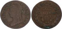 France 5 Centimes Dupré - Consulat An 8 AA Metz (1800)