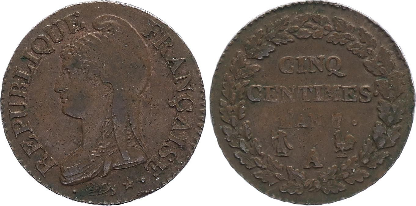 France 5 Centimes Dupré - Directoire - An 7 A Paris (1799)