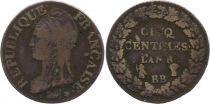 France 5 Centimes Dupré - Directoire - An 8 BB stasbourg (1799)