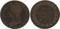 France 5 Centimes Dupre - Liberty head - An 5 A Paris - 1796-1797
