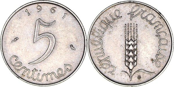 France 5 Centimes Epi - 1961