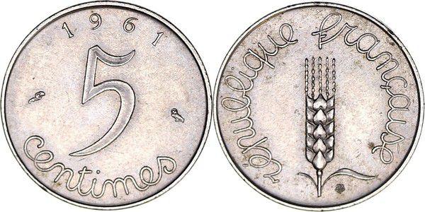 France 5 Centimes Grain sprig - 1961