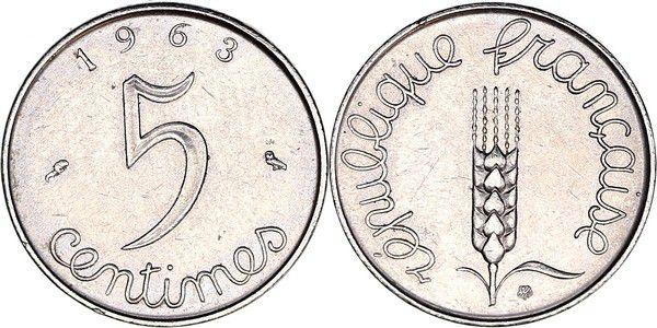 France 5 Centimes Grain sprig - 1963