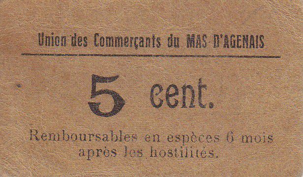 France 5 Centimes Le Mas d\'Agenais Union des Commerçants