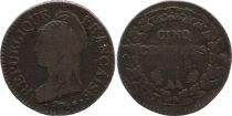 France 5 Centimes Liberty head - An 8 AA Metz (1800)