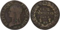 France 5 Centimes Liberty head - An 8 BB Strasbourg  (1799)