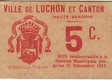 France 5 Centimes Luchon Emission Municipale