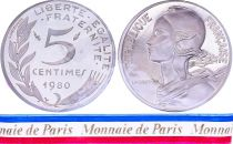 France 5 Centimes Marian Piéfort 1980 - Silver