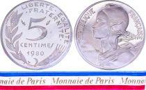 France 5 Centimes Marianne Piéfort 1980 - sous sachet Monnaie de Paris - Argent
