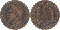 France 5 Centimes Napoléon III - Tête Laurée -1862 BB Strasbourg