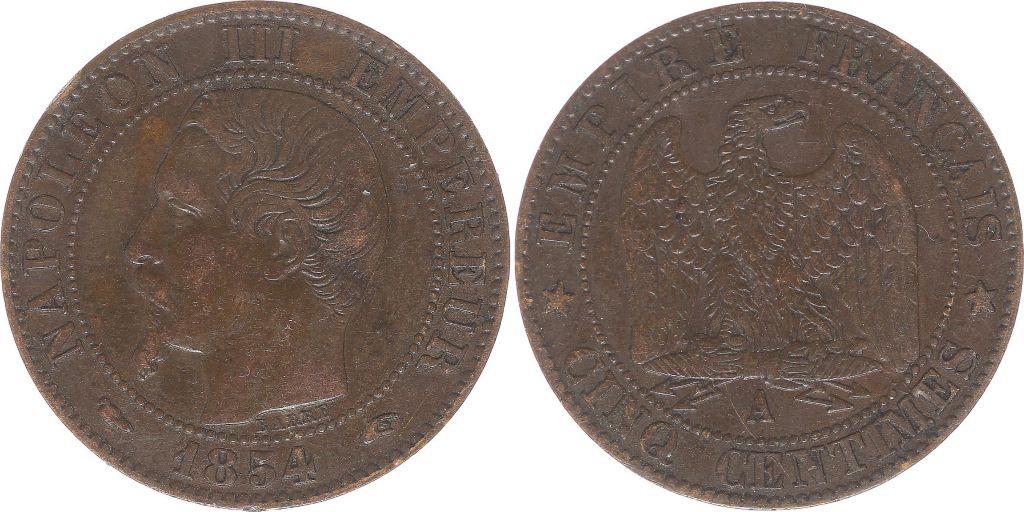 France 5 Centimes Napoléon III - Tête Nue -1854 A Paris