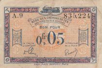 France 5 Centimes Régie des chemins de Fer - 1923 - Série A.9