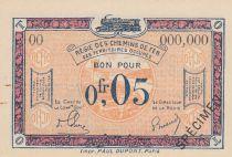 France 5 Centimes Régie des chemins de Fer - 1923 - Specimen Serial OO
