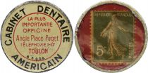 France 5 Centimes Timbre Monnaie - 1920 - American Dental Office Toulon