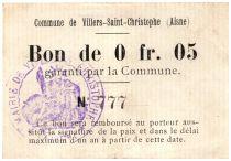 France 5 Centimes Villers-Saint-Christophe Commune - 1915