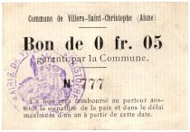 France 5 Centimes Villers-Saint-Christophe Commune - 1915