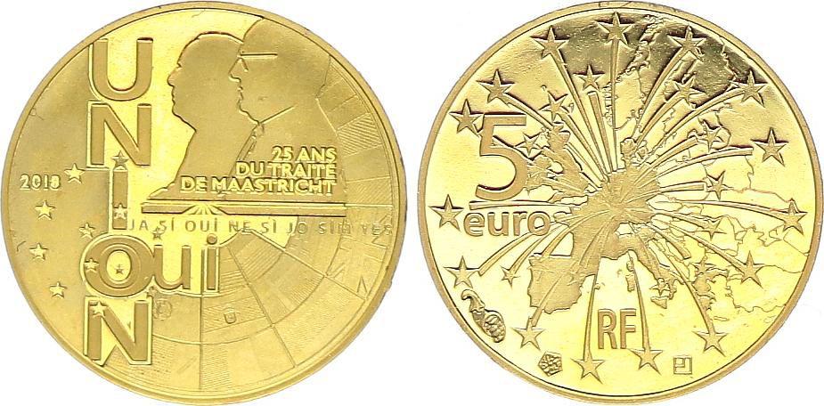 France 5 Euro OR  - 25 ans du Traité de Maastricht 2018- Frappe BE - sans boîte ni certificat
