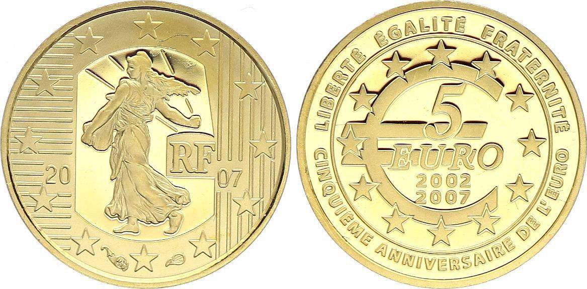 France 5 Euro OR  - 5 ans de l\'Euro 2007- Frappe BE - sans boîte ni certificat