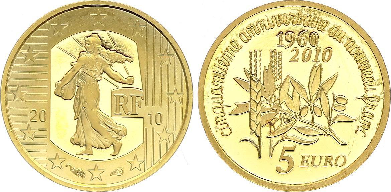 France 5 Euro OR  - 50 ans du Nouveau Franc 2010 Frappe BE - sans boîte ni certificat