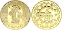 France 5 Euros Gold  - 5Years of Euro 2007 - Proof  - without boxe and without certificat