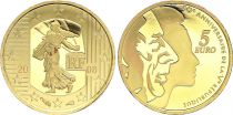 France 5 Euros Gold  - Semeuse 2008  - Proof  - without boxe and without certificat