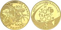 France 5 Euros Gold  100 years of  Tour de France 2013 - Proof  - without boxe and without certificat
