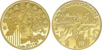 France 5 Euros Gold  30 years of celebration of music 2011 - Proof  - without boxe and without certificat