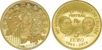 France 5 Euros Gold  50 Years of Elysee\'s treatry 2013 - Proof  - without boxe and without certificat