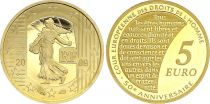 France 5 Euros Gold  50 years of European Court of Human Rights 2009 - Proof  - without boxe and without certificat