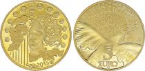France 5 Euros Gold 70 years of European peace 2015 - Proof  - without boxe and without certificat